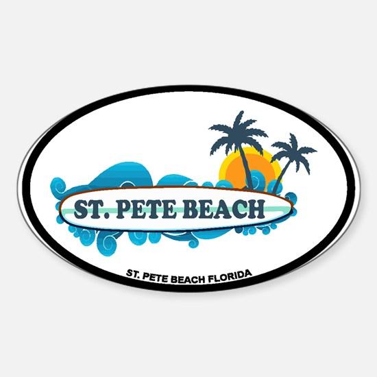 St. Pete Beach - Surf Design. Sticker (Oval)