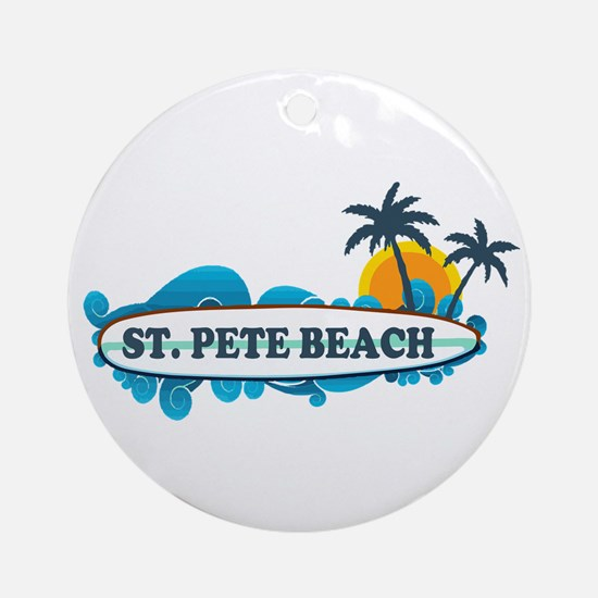 St. Pete Beach - Surf Design. Ornament (Round)