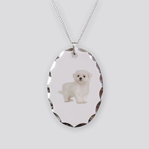 Maltese Necklace Oval Charm