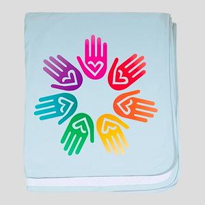 Rainbow Heart Hand Circle baby blanket