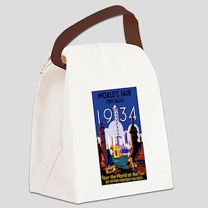Chicago Worlds Fair 1934 Canvas Lunch Bag