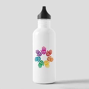 Rainbow Heart Hand Circle Water Bottle
