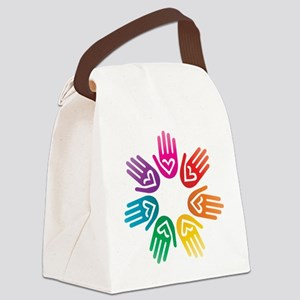 Rainbow Heart Hand Circle Canvas Lunch Bag