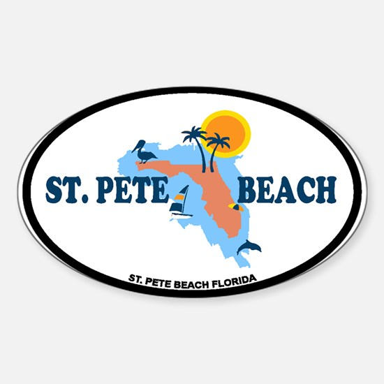 St. Pete Beach - Map Design. Sticker (Oval)