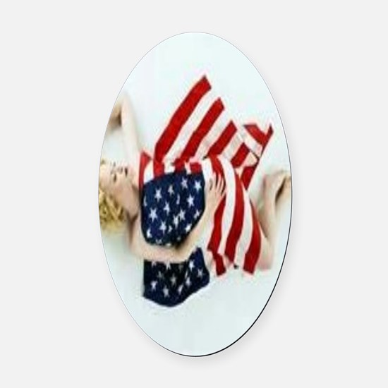 4 military Pin Ups Oval Car Magnet