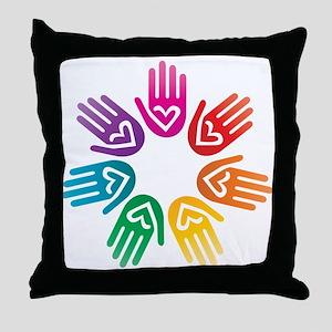 Rainbow Heart Hand Circle Throw Pillow
