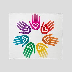 Rainbow Heart Hand Circle Throw Blanket