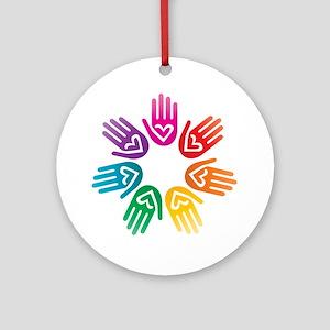 Rainbow Heart Hand Circle Ornament (Round)
