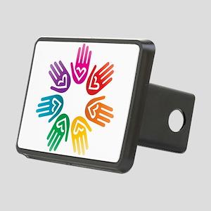 Rainbow Heart Hand Circle Hitch Cover