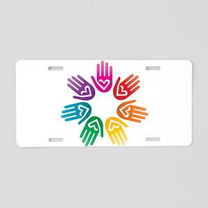 Rainbow Heart Hand Circle Aluminum License Plate