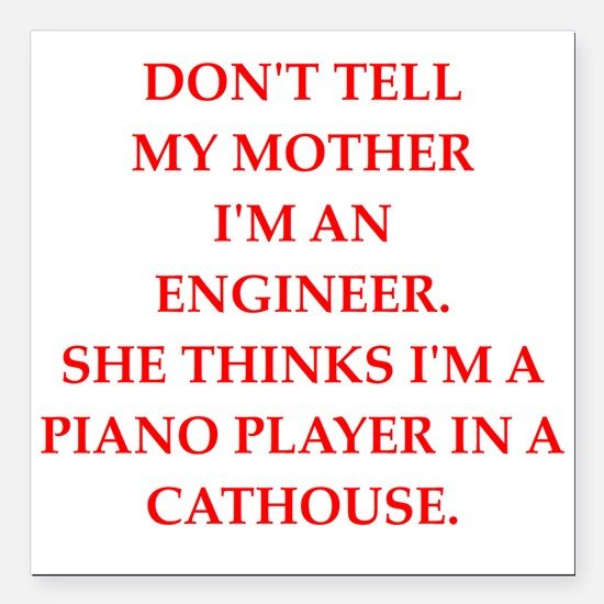 """engineering Square Car Magnet 3"""" x 3"""""""