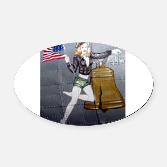 1 Military Pin Ups Oval Car Magnet