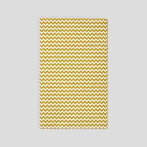 Gold Tone Chevrons Zigzag Pattern 3'x5' Area Rug
