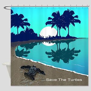 Blue Palms Designer All Over Shower Curtain