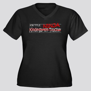Job Ninja Kindergarten Women's Plus Size V-Neck Da