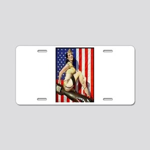 2 Military Pin Ups Aluminum License Plate