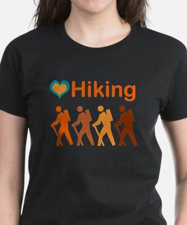 Love Hiking with Heart Women's Dark T-Shirt