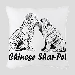 chinese shar pei 2 Woven Throw Pillow