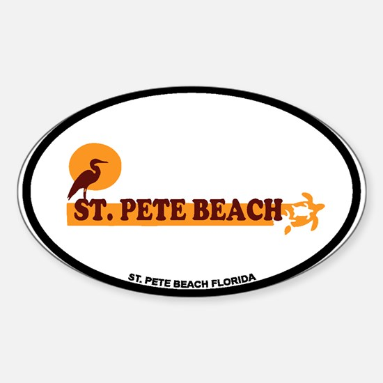 St. Pete Beach - Beach Design. Sticker (Oval)
