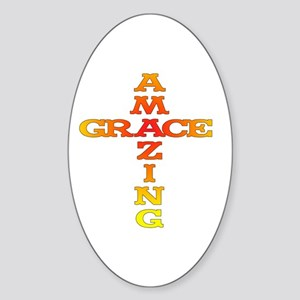 Amazing Grace cross Oval Sticker
