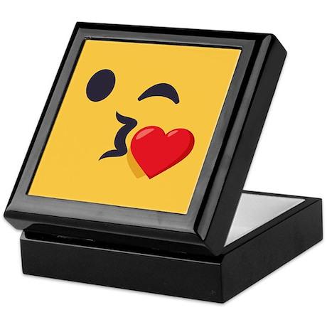 winky kiss emoji face keepsake box by emojioneshop