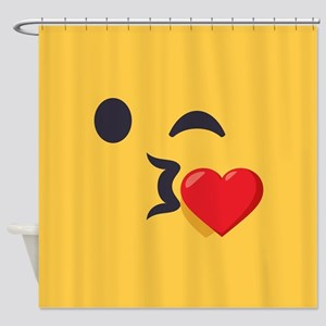 Winky Kiss Emoji Face Shower Curtain