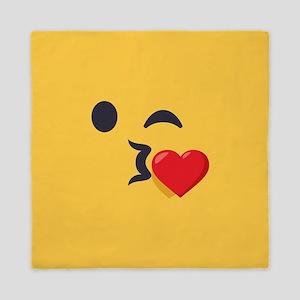Winky Kiss Emoji Face Queen Duvet