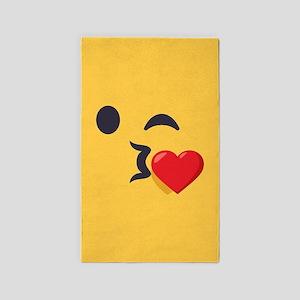 Winky Kiss Emoji Face Area Rug
