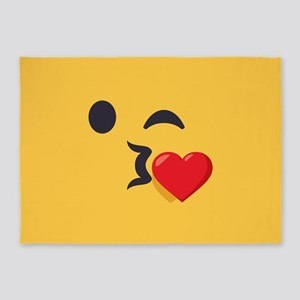 Winky Kiss Emoji Face 5'x7'Area Rug
