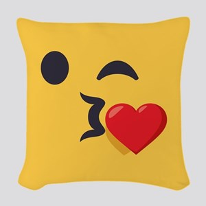 Winky Kiss Emoji Face Woven Throw Pillow
