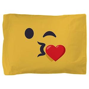 Winky Kiss Emoji Face Pillow Sham