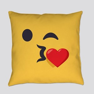 Winky Kiss Emoji Face Everyday Pillow