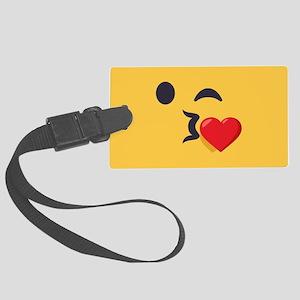 Winky Kiss Emoji Face Large Luggage Tag