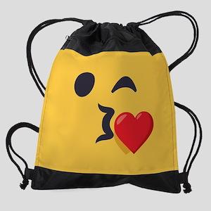 Winky Kiss Emoji Face Drawstring Bag