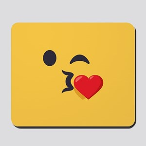 Winky Kiss Emoji Face Mousepad