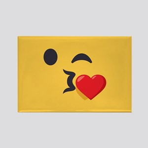 Winky Kiss Emoji Face Rectangle Magnet
