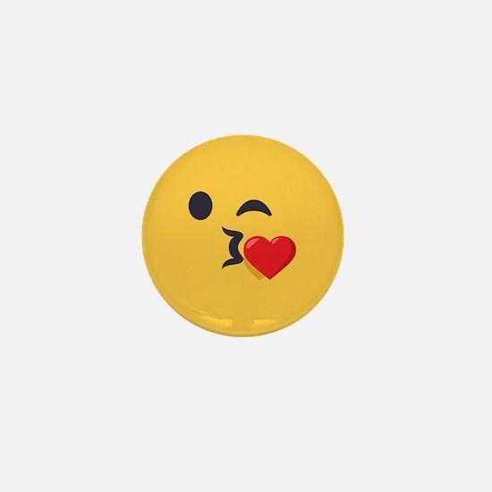 Winky Kiss Emoji Face Mini Button