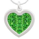 Royal Hawaiian Palms Print Silver Heart Necklace