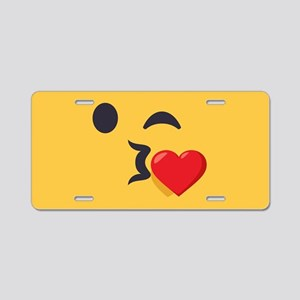 Winky Kiss Emoji Face Aluminum License Plate