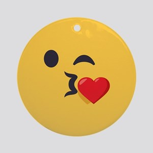 Winky Kiss Emoji Face Round Ornament