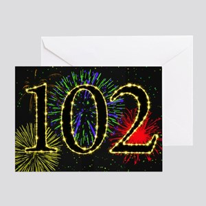 102nd Birthday card with fireworks Greeting Card