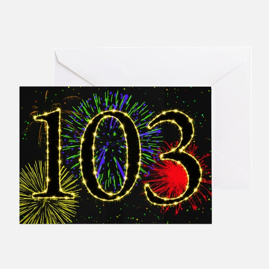 103rd birthday with fireworks Greeting Card