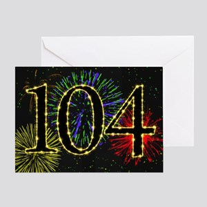 104th Birthday card with fireworks Greeting Card