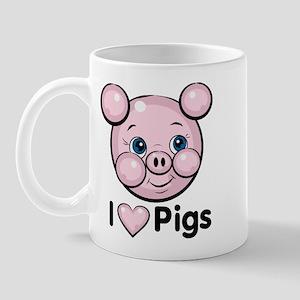 I Love Pink Heart Pigs Cute Mug