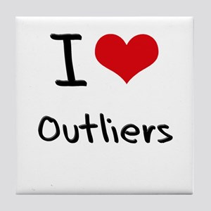 I Love Outliers Tile Coaster