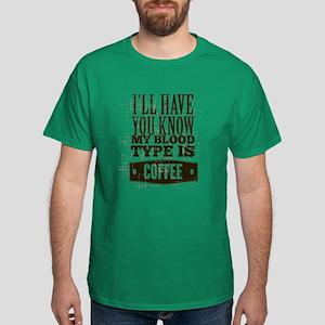 Blood Type Coffee Dark T-Shirt