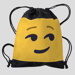Smirk Emoji Face Drawstring Bag