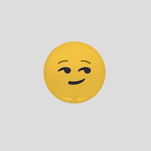 Smirk Emoji Face Mini Button