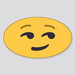 Smirk Emoji Face Sticker (Oval)