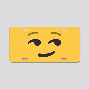 Smirk Emoji Face Aluminum License Plate